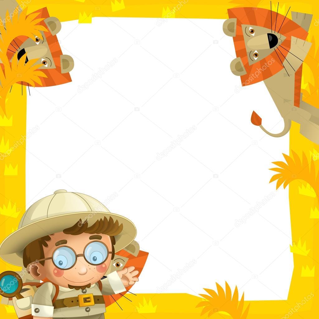lillustration du cadre avec des animaux safari pour les enfants photographie illustrator. Black Bedroom Furniture Sets. Home Design Ideas