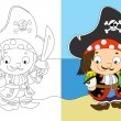 Stock Photo: Coloring page - pirate captain - illustration for children