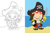 The coloring page - pirate captain - illustration for the children — Stock Photo