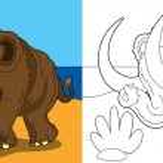 The stone age border - illustration for the children — Stock Photo