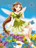 The fairy - Beautiful Manga Girl - illustration — Stock Photo
