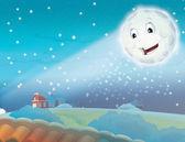 Ay yıldız ile gece gülümseyen karikatür — Stok fotoğraf