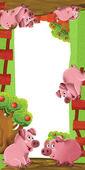 色彩丰富的插画与猪 — 图库照片