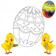 The happy easter chickens — Stock Photo