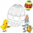 The happy easter chicken and bunny — Stock Photo #19371867