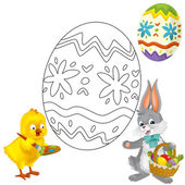 The happy easter chicken and bunny — Stock Photo