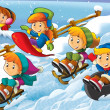 Stock Photo: Winter fun kids