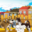 Cartoon dog gang having meeting — Stok Fotoğraf #22081395