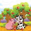 Stock Photo: The cartoon pig and cow playing in the orchard and eating apples