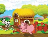 Pig and cow playing — Stock Photo