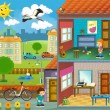 Stock Photo: In little town - cross-section - illustration for children