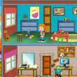 In little town - cross-section - illustration for the children - Stockfoto