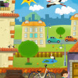 In little town - cross-section - illustration for the children - Stock Photo