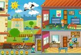 In little town - cross-section - illustration for the children — Stock Photo