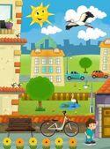 V malé město - průřez - ilustrace pro děti — Stock fotografie