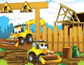 The cartoon digger - illustration for the children — Stock Photo