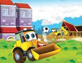 The cartoon digger - illustration for the children — Fotografia Stock