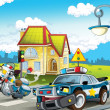 The police car officers - illustration for the children - Stock Photo
