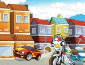 The police car officers - illustration for the children — Stock Photo