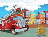 The red firetruck - duty - illustration for the children — Stock Photo