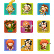 The cavemen - stone age. Set of 9 glossy square web icons. — Stock Photo
