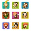 The cavemen - stone age. Set of 9 glossy square web icons. - Stock Photo