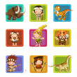The cavemen - stone age. Set of 9 glossy square web icons. — Foto Stock