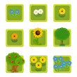 Flower and tree. Set of 9 glossy square web icons. — Stock Photo #22470277