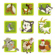 Farm. Set of 9 glossy square web icons. - Foto Stock