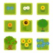 Stock Photo: Flower and tree. Set of 9 glossy square web icons.