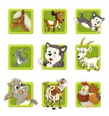 Farm. Set of 9 glossy square web icons. — Zdjęcie stockowe
