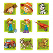 Farm. Set of 9 glossy square web icons. — 图库照片