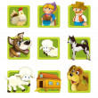 Farm. Set of 9 glossy square web icons. — Stock Photo #22549071