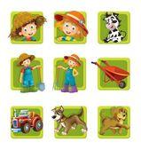 Gospodarstwa. zestaw 9 ikony błyszczący web kwadrat. — Zdjęcie stockowe