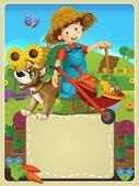 On the farm - the happy illustration for the children — Stock Photo