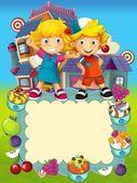 La ilustración de etiquetas - sonrientes rostros banners - dibujos animados para los niños — Foto de Stock