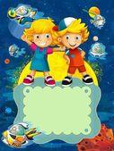 L'illustrazione di etichette - sorridente facce banner - cartone animato per bambini — Foto Stock