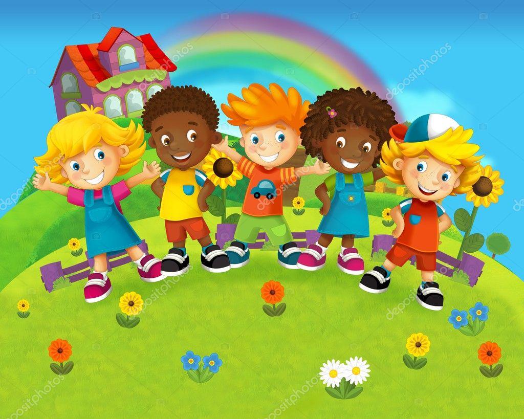 La ilustraci n de dibujos animados sonrientes rostros for Actividades para jardin infantil