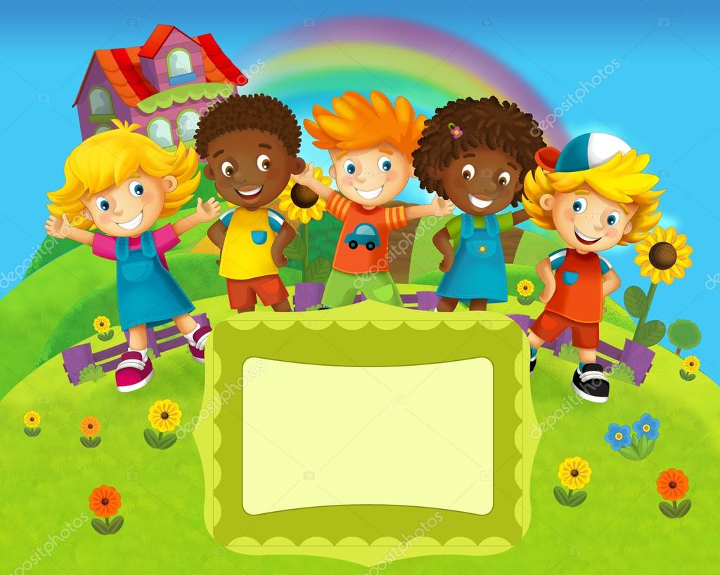 Rostros De Niños Animados: La Ilustración De Etiquetas