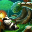 The painting of a forest animal - illustration for the children — Stock Photo
