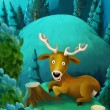 The deer in the forest - illustration for the children - Stock Photo