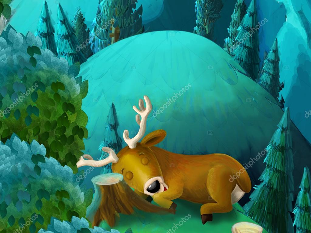 鹿在森林-儿童插画