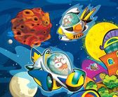 The cartoon - Planet humanoids - illustration for the children — Stock Photo
