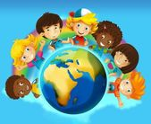 The cartoon - smiling faces banners - illustration for the children — Stock Photo