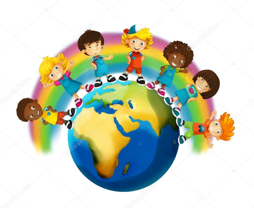Rostros De Niños Animados: La Ilustración De Dibujos Animados