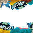 The coral reef - frame - border - illustration for the children - Foto Stock