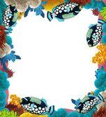 Rafa koralowa - rama - granica - ilustracja dla dzieci — Zdjęcie stockowe