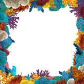 The coral reef frame border illustration for the children stock - Underwater Scenery Stock Photos Royalty Free Underwater