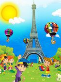 The iconic and historical architecture of Europe- with children - the Eiffel tower in Paris - illustration for the children — Stock Photo