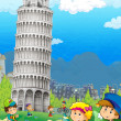 Stock Photo: Iconic and historical architecture of Europe with kids - Leaning Tower of Pis- illustration for children